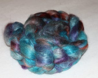 """Fine Quality Mohair Roving with 10% Wool Top """"Western Turquoise""""  4.15oz COLOR MUCH BRIGHTER and richer than photo shows!"""