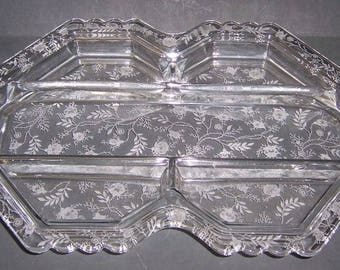 Fostoria Elegant Crystal CHINTZ 13 Inch 5 Part RELISH or Serving TRAY