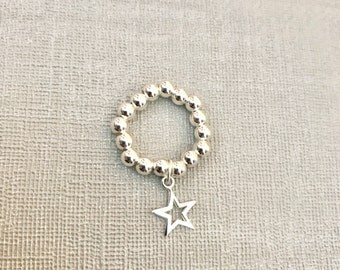 Sterling Silver Stack Ring - Mid Ring, Star Ring, Open Star Ring, Charm Ring, Sterling Silver, Bead Ring, Modern Ring, Stack Jewellery