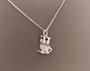 Owl Necklace, Owl Pendant, Sterling Silver, Silver Jewellery, Necklace, Dainty, Layering Necklace, Owl, Nature, Bird