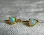 Opal Earrings 14K Yellow Gold Dangle Opal Earrings Genuine Opal October Birthday Libra Gift