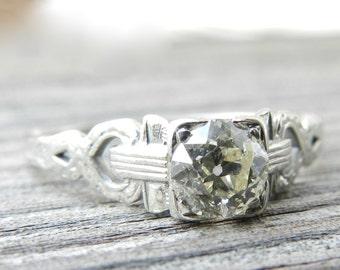 Engagement Ring .50 Ct Antique Diamond Ring Old European Cut Diamond 18K Cushion Cut Gold Ring Edwardian Engagement Ring 1920s Engagement
