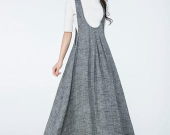 gray pinafore dress, gray suspender dress, overall dress, jumper dress, maxi pinafore dress,  womens pinafore, loose fit dress     C1057