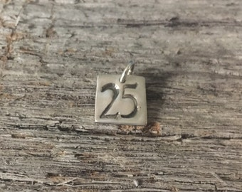 Square Lucky Number Charm, Fine Silver Number Pendant,