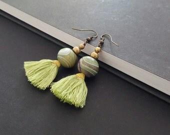 Handmade Wooden Bead  Cotton Tassles  Earring