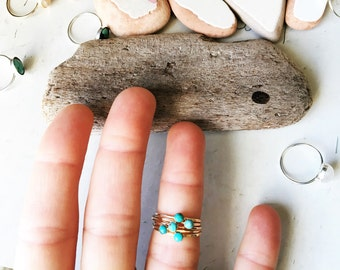 Hammered gold and turquoise ring