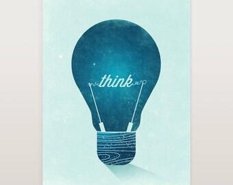 Think Sign, Graphic Print, Blue Print Art, Wall Decor, Vintage Light Bulb, Illustration Print, Wall Art Vintage, Original Art, Top Selling
