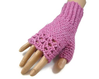 Ladies Pink Gloves - Gifts for Girls - Pink Crochet Gloves - Gifts for Her - Womens Pink Gloves - Pink Handwarmers - Outdoor Gifts