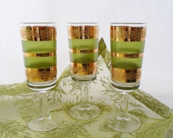ON SALE Culver, Starlyte, Set of Three, Cordial, Glasses, Green, Gold, Vintage, 1960'S, Barware, Glassware, 22K Gold, Starlyte-Culver Ltd Gl