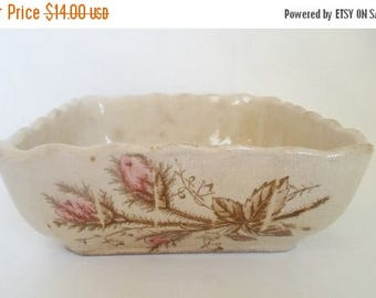 ON SALE Vintage  Pink Wild Rose Square Bowl, Ironware, China, Steubenville Pottery Company, Ohio USA, Cottage Chic, Shabby Chic