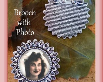 SALE!  Antique Silver Brooch with Photo