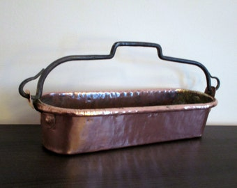 Large Antique French Solid Copper Plantern - Jardiniere -  Fish Pan - with Iron Handle - Beautiful Texture & Color