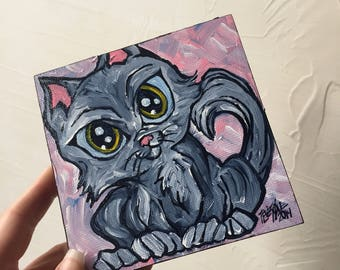 Gray Cat original painting