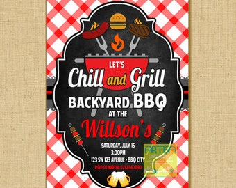 Grill and Chill Invitation, Grill and Chill BBQ Invitation, Chill and Grill Invitation, Chill Grill BBQ Invitation, Chill and Grill Invite