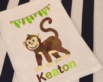 Personalized Jungle Safari Monkey White Flour Sack Hand Towel Little Boy Girl Jungle Monkey Bathroom Hand Towel Birthday Party Favor
