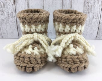 Tan Beige with Cream Stripes Baby Toddler Child Crochet SHEEPSKIN Slippers with Dark Brown Leather Suede and Sheepskin Shearling Sole