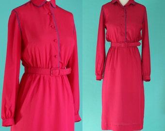 Vintage 70s Hot Pink Dress - Long Sleeve Dress - Midi Dress - Pink and Blue Shirt Dress - Peter Pan Collar Belted Dress - Size Small