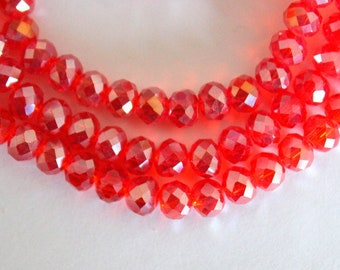 Lovely Red Faceted Glass Rondell Beads
