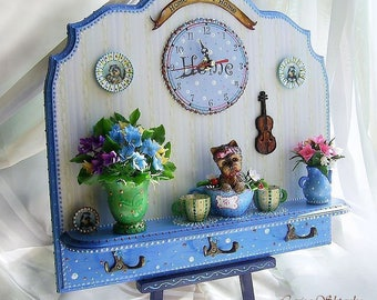 Wall clock with miniature composition . Handcrafted miniature. TO  ORDER