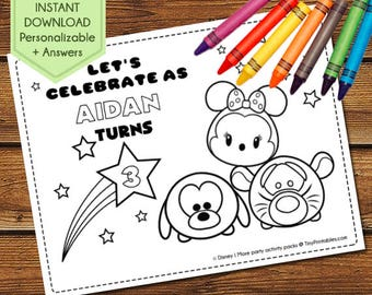 Tsum Tsum Party Activity Book, Tsum Tsum Coloring Pages, Tsum Tsum Party Favors, Tsum Tsum Birthday Activity, Tsum Tsum Party Games