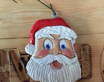 Christmas Ornament Hand Carved Santa