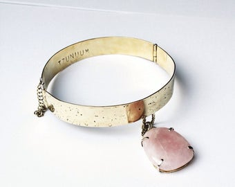 SOMA hinged choker necklace with  rose quartz