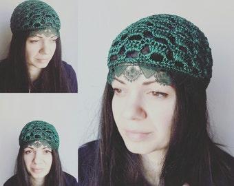 Green chemo hat/ Tassel Lace Crochet hat - summer beanie hat-women CROCHET CAP/ hats, skull caps/chemo skullcap/fashionable hats by ZAPrix