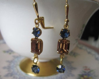 SUPER SALE Vintage Light topaz and sapphire blue rhinestone earrings, mothers day, prom, wedding
