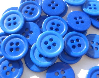 15mm 4-hole Blue Buttons, ABS Blue Plastic Buttons, Pack of 20 Blue Buttons AS1549