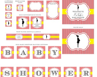 Red and Yellow Ready to Pop Silhouette Baby Shower Party package - ready to pop shower - includes invitation, signs, banner and more