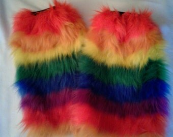 READY TO SHIP! Rainbow Faux Fur Fluffies Leg Warmers