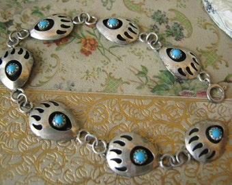 Vintage Hollow Sterling Silver Turquoise Navajo Bear Paw Extension Chain Necklace Extender Native American Jewelry