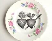 Vintage Sacred Heart Plate Altered Art