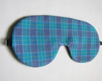 Blue and Purple Plaid Sleep Mask, Adjustable Sleeping eye mask, Lightweight Plaid Eye Mask for Sleeping, Sleep Mask