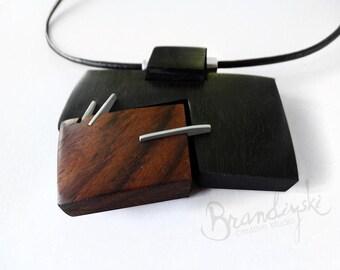 Wooden Necklace. Original Handcrafted: black ebony, rose wood, aluminum, leather cord