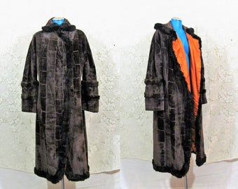 Antique 1910 Edwardian Plush Velvet + Fur Trimmed Full Length Opera Coat