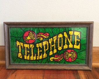 Vintage telephone sign, Glitter Art, payphone art, Pay phone