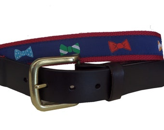 Bow Tie Leather Belt / Leather Belt / Canvas Belt / Preppy Webbing Belt for Men, Women and Children/Colorful Bow Ties on Navy