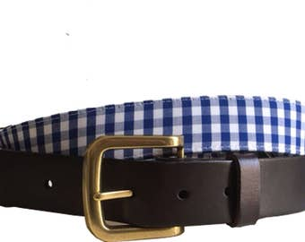 Blue and White Checkered Plaid Leather Belt / Leather Belt / Nautical Belt / Preppy Webbing Belt Men, Women and Children/Blue and White Belt
