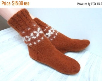 BLACK FRIDAY SALE Socks hand knitted felted Slippers Leg warmer burnt orange brown size 5  handmade Scandinavian ready to ship Wool small wo