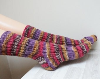 Wool Men women Socks hand knitted Leg warmers Stockings size 8 UK 8.5 US 42 Europe handmade teenager ready to ship purple pink melange mix
