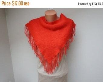 ON SALE Coral red Scarf shawl wrap crochet knit triangle wool acrylic fringe poncho neckwarmer handmade long soft openwork neck warmer small