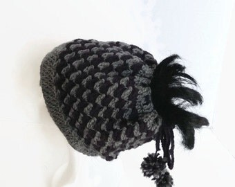 Messy Bun Hat with Drawstring Closure Purple & Gray Ponytail Hat Skiers Snowboarders Bicyclists Hikers