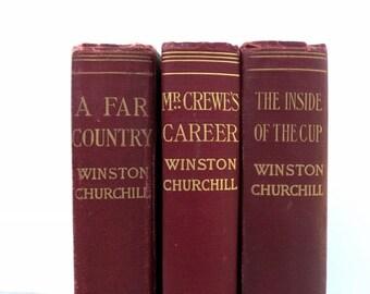 Antique Books/Marsala Books/Book Decor/Vintage Burgundy Books/Instant Library/Book Bundle/Old Books/Winston Churchill/Decorative Books