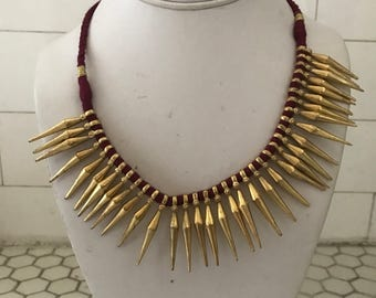 Indian Tribal Gold Plated Silver Fringe Bib Collar Necklace
