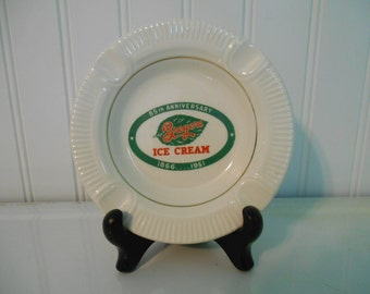 Breyers Ice Cream 85th anniversary ashtray, Vintage glass ashtray, Ice cream manufacturing, Merchandising collectibles