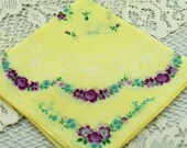 Vintage  Hankie, Yellow and Deep Lavender Floral Hankie, Crafting, Gifting, Quilting, Framing #Y-14