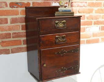 33% OFF SALE from 299: Antique Primitive Hardwood/Walnut Night Stand/Dresser/Cabinet