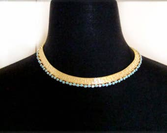 Gold Mesh Collar Necklace Vintage Jewelry Greek Key Pattern Imprint Turquoise Cabochon Edge Trim Bold Gold Necklace Art Deco 1980's Jewelry