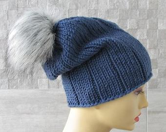 Pom Pom Beanie, Knitted Hat for Women, Winter Hats for Men, Denim Blue Hat, Men Knitted Hat,  Men Fur Pom Poms